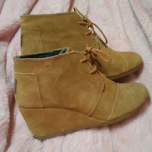 Toms Suede Wedge Ankle Boots